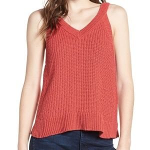 Madewell Stockton Sweater Knit Tank Top Rust Red V